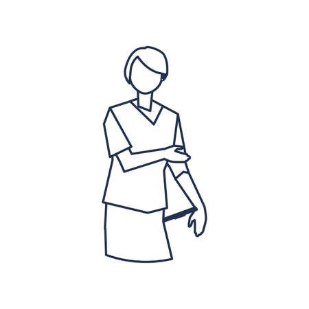 man doctor standing, medical staff , line style icon vector illustration design Иллюстрация