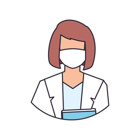 female doctor with medical face mask, line and fill style icon vector illustration design Иллюстрация
