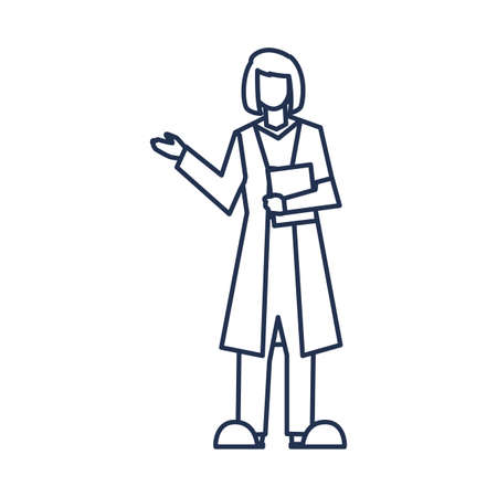 female doctor standing, medical staff , line style icon vector illustration design
