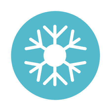 winter snowflake, block and flat style icon vector illustration design