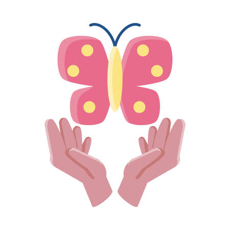 hands holding a butterfly on white background vector illustration design