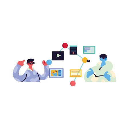 men working and learning online vector illustration design Çizim