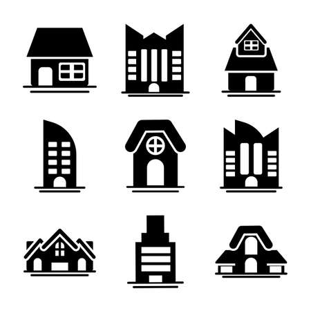 set of icons of towers of apartment, office building and house , silhouette style icon vector illustration design