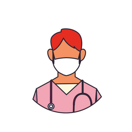 man doctor with medical face mask, line and fill style icon vector illustration design Иллюстрация