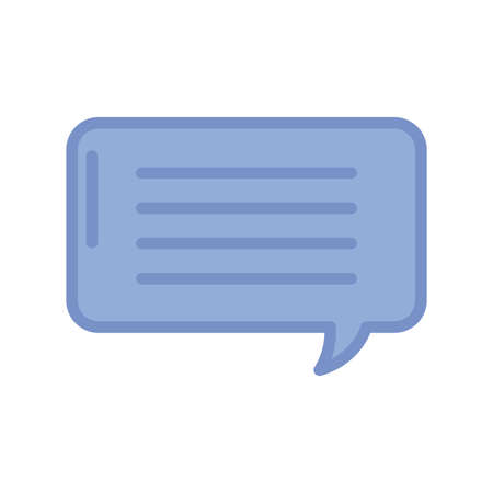 speech bubble icon over white background, blue outline style, vector illustration