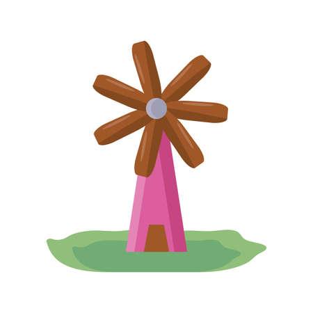 gardening windmill icon over white background, flat detail style, vector illustration Illustration