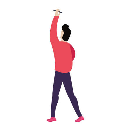 man holding pencil back view vector illustration