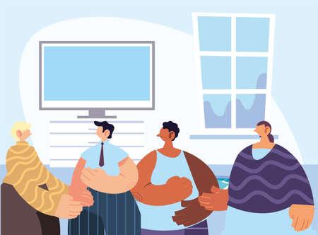 people gathered together sharing at home vector illustration design