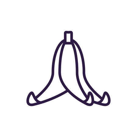 banana peel over white background, line style icon, vector illustration Ilustração