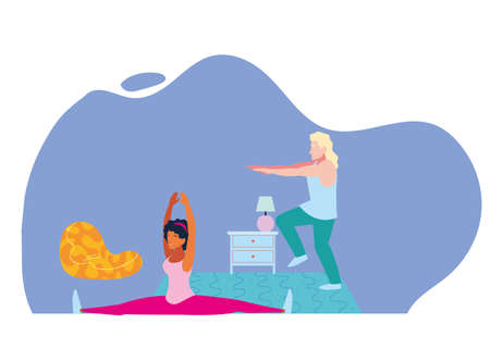 couple doing stretching and strength exercises at home vector illustration design