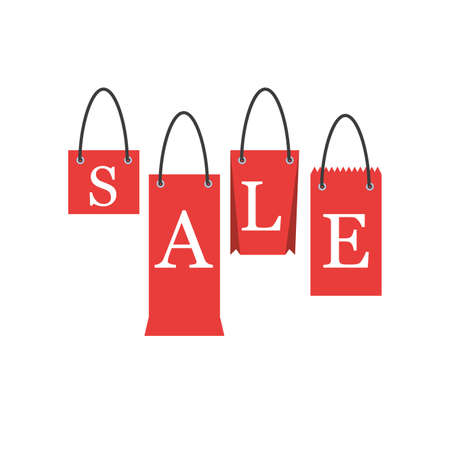 shopping bags forming the word sale on white background vector illustration design