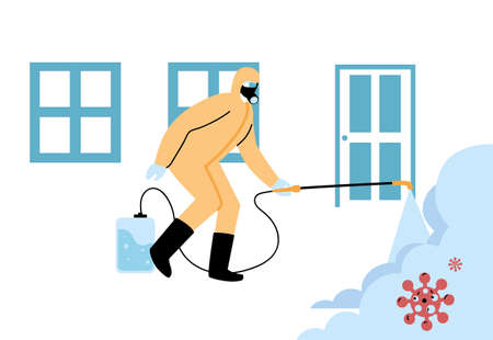 Men wearing protective suits and isolated disinfectant to avoid covid 19, disinfecting houses vector illustration design Illustration