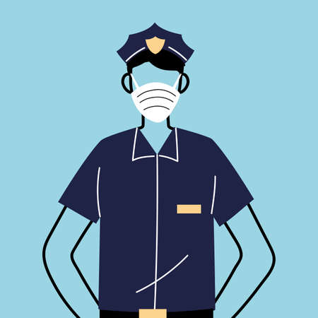police worker using face mask for covid 19 vector illustration design