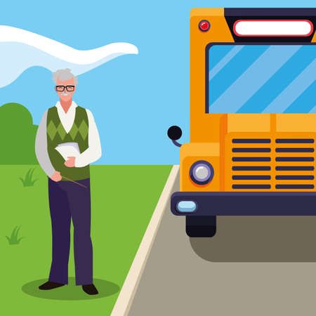 teacher male with documents in stop bus vector illustration design Illustration