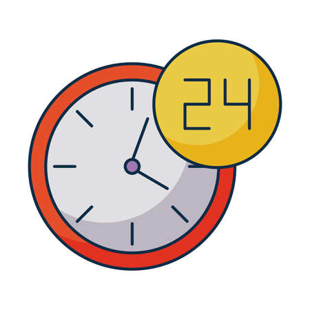 wall clock with symbol open around the clock, 24 hours on white background vector illustration design