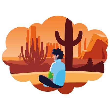 man contemplating horizon in the desert scene vector illustration design  イラスト・ベクター素材