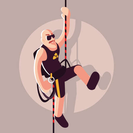 man rock climber with climbing equipment vector illustration design