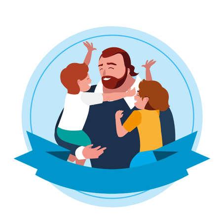 father with sons characters in frame vector illustration design Vektoros illusztráció