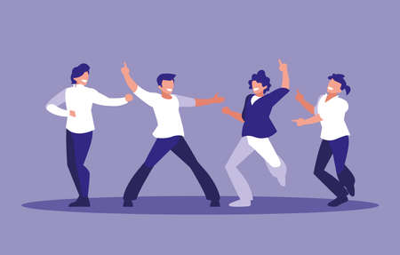 men dancing avatar character vector illustration design