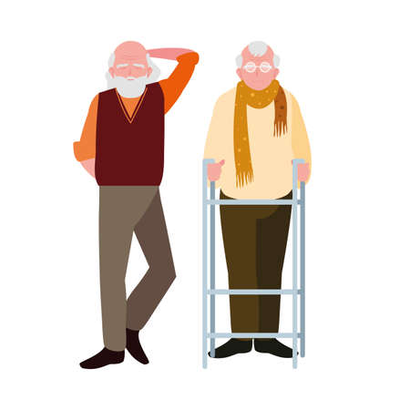 happy elderly men sharing at home vector illustration design