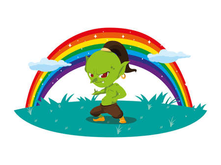 ugly troll with rainbow magic character vector illustration design