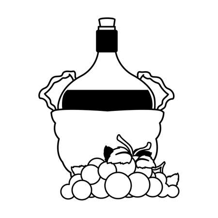 bottle of wine in wicker basket and grapes on white background vector illustration design