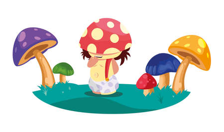 fungu elf in fungus garden magic character vector illustration design