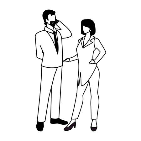 business couple standing on white background vector illustration design