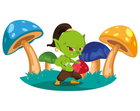 ugly troll in the camp magic character vector illustration design