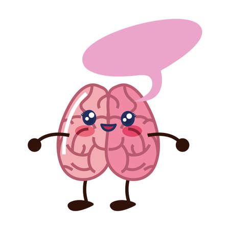 brain cartoon creativity speech bubble vector illustration