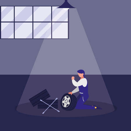 mechanic worker with tire car and tools vector illustration design