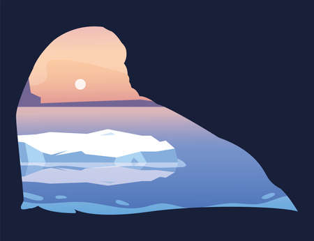arctic landscape with silhouette of walrus vector illustration design