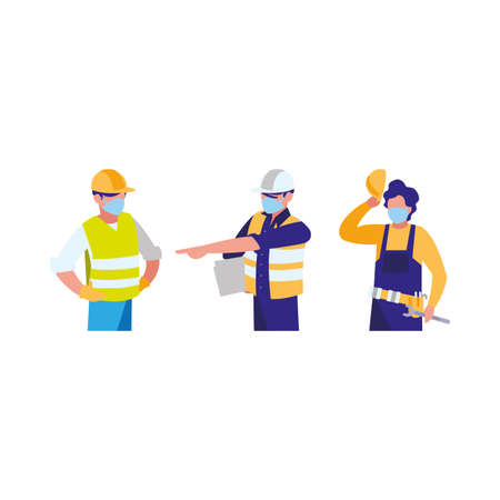 industrial workers men working with face mask vector illustration design