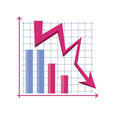 chart with down arrows on white background vector illustration design Ilustração