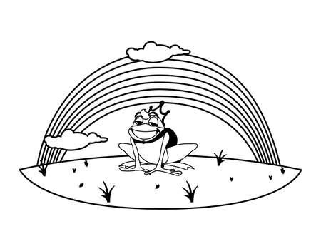 toad prince with rainbow fairytale character vector illustration design Иллюстрация