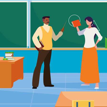 interracial teachers couple in the classroom characters vector illustration design