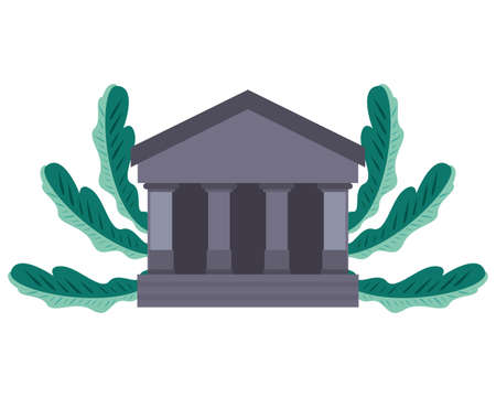bank building icon on white background vector illustration Vector Illustration