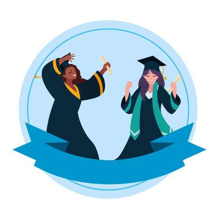 interracial women students graduated celebrating vector illustration design