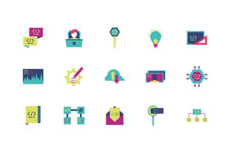 Website code icon set design, Programming web designer technology internet media modern and development theme Vector illustration