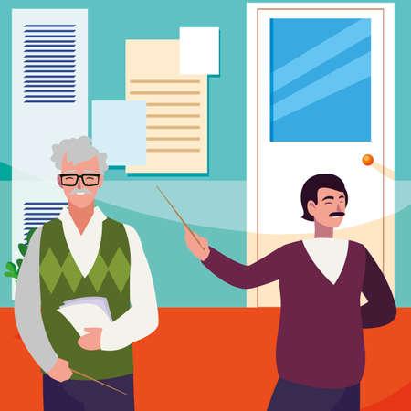 teachers couple in the school corridor vector illustration design Illustration
