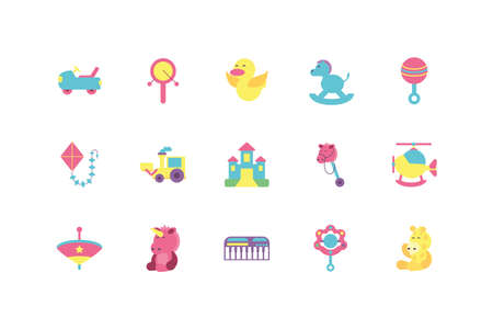 toys icon set design of Childhood play fun kid game gift object little and present theme Vector illustration Vettoriali