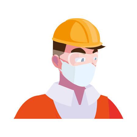 Industry operator wearing face mask at work vector illustration design