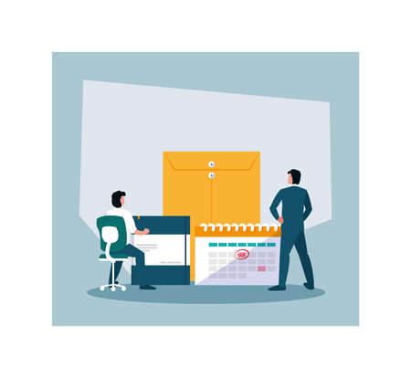 businessmen in tax day with icons vector illustration design
