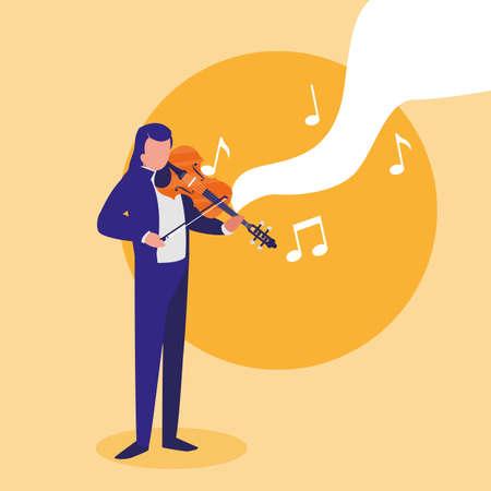 violinist playing fiddler character vector illustration design Reklamní fotografie - 148665166