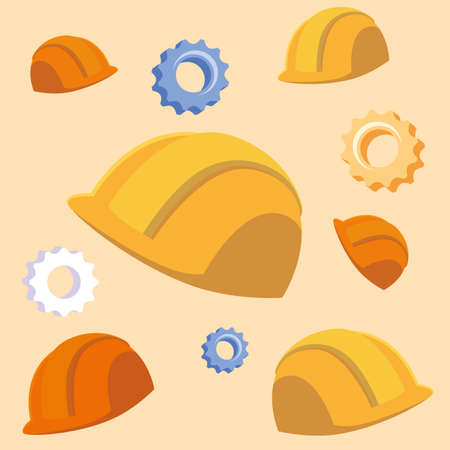 pattern of helmets security with gears vector illustration design