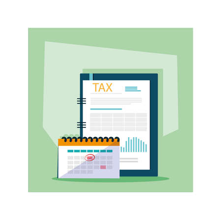 set of icons of tax day vector illustration design