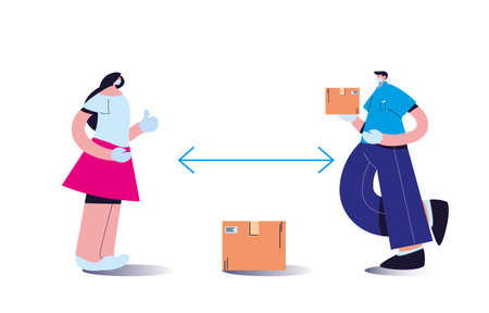 couple wearing face masks delivering packages with distance rules vector illustration desing Vektorové ilustrace