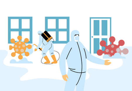 Men wearing protective suits and isolated disinfectant to avoid covid 19, disinfecting houses vector illustration design