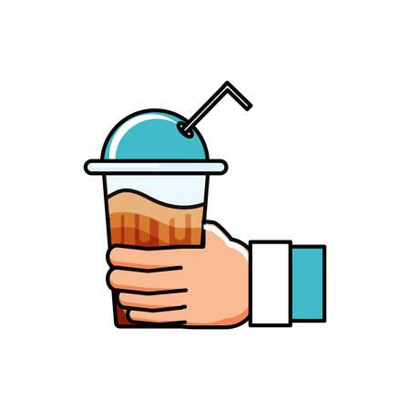 hand with delicious milkshake of coffee vector illustration design