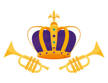 Crown and trumpets design, Royal king queen luxury jewelry kingdom insignia emperor authority and coronation theme Vector illustration